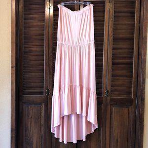 Boston Proper Peach Strapless High-Low Maxi Dress